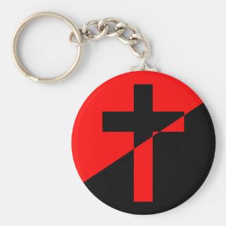 De Christelijke Vlag van het Christendom van de Basic Ronde Button Sleutelhanger