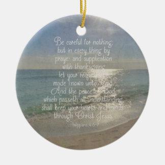 De Christen van het Strand van het Vers van de Rond Keramisch Ornament