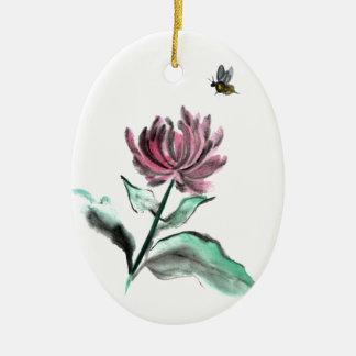 De Chrysant en de Bij van de spin - Herfst in de Keramisch Ovaal Ornament