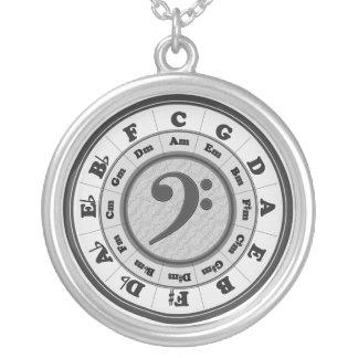 De Cirkel van de muziek van Vijfden - de Basversie Zilver Vergulden Ketting