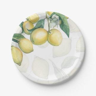 De citroen vertakt zich de Witte & Gele Rustieke Papieren Bordje