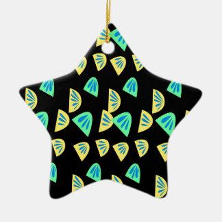 De citroenen van het ontwerp op zwarte keramisch ster ornament