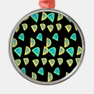De citroenen van het ontwerp op zwarte zilverkleurig rond ornament