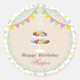 De Citroenen van Macarons van de verjaardag + De Ronde Sticker
