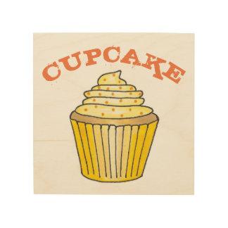De citroengele Cake Cupcake bestrooit de Keuken Hout Afdruk
