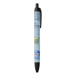 De Close-up van de Zegels van het paspoort Zwarte Inkt Pen