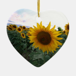 De Close-up van de zonnebloem Keramisch Hart Ornament