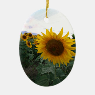 De Close-up van de zonnebloem Keramisch Ovaal Ornament