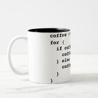 De Code van de koffie in Golang Tweekleurige Koffiemok