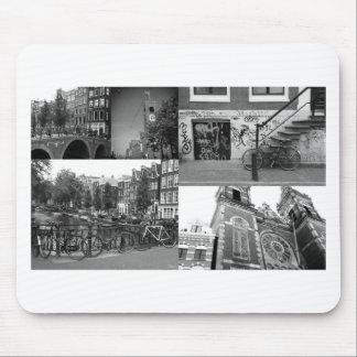 De collage Amsterdam 4 van de foto in zwart-wit Muismat