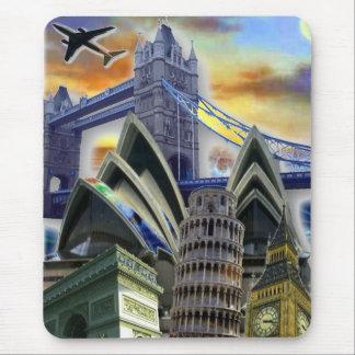 De Collage Mousepad van monumenten Muismat