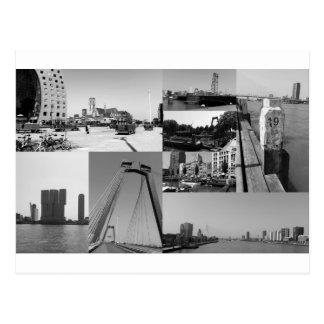 De collage Rotterdam 2 van de foto in zwart-wit Briefkaart