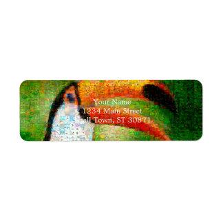De collage-toekan van de toekan kunst - etiket