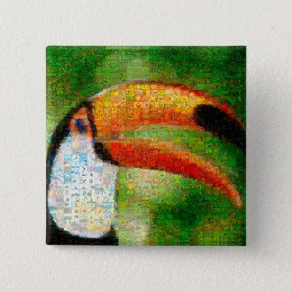 De collage-toekan van de toekan kunst - vierkante button 5,1 cm