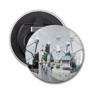 De Collage van de Foto van Brussel Atomium Button Flesopener