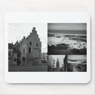 De collage van de foto van Den Haag 2 in zwart-wit Muismat