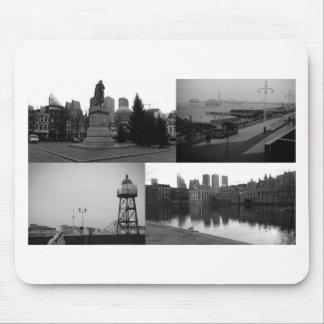 De collage van de foto van Den Haag 3 in zwart-wit Muismat