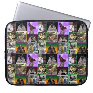 De Collage van de Foto van kippen en van Hanen, Computer Sleeve