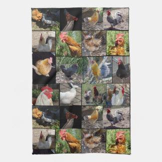 De Collage van de Foto van kippen en van Hanen, Theedoek