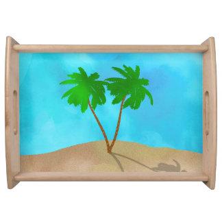 De Collage van de Scène van het Strand van de Palm Dienblad