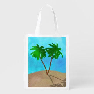 De Collage van de Scène van het Strand van de Palm Herbruikbare Boodschappentas