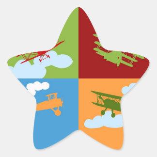 De collage van het vliegtuig op blauw, redm groen ster stickers