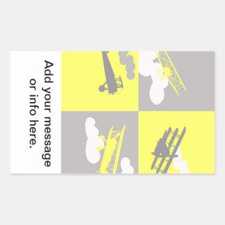 De collage van het vliegtuig op grijs en geel rechthoekige sticker