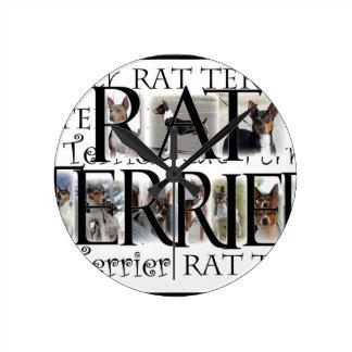 De Collage van Terrier van de rat Ronde Klok Medium