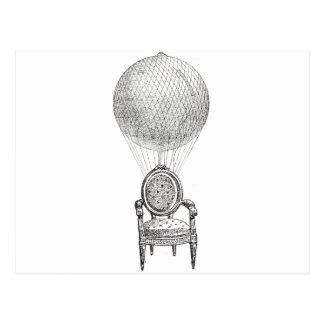 De collagestoel & luchtballon van Steampunk Briefkaart