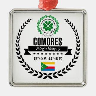 De Comoren Zilverkleurig Vierkant Ornament