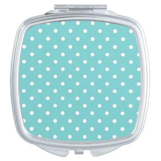 De Compacte Spiegel van de blauwgroen Stip van de  Make-up Spiegel