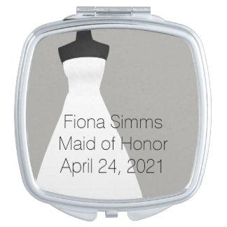 De Compacte Spiegel van het eerste bruidsmeisje of Makeup Spiegel