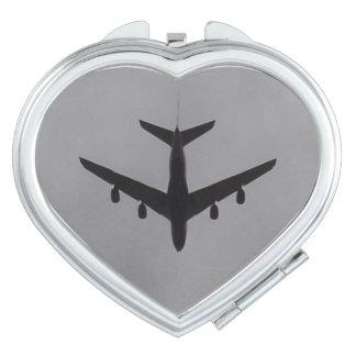 De Compacte Spiegel van het Hart van het vliegtuig Reisspiegeltje