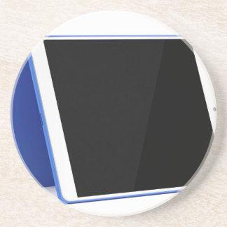 De computer van de tablet op wit zandsteen onderzetter
