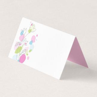 De confettien bloeien roze blauwgroene plaatskaart