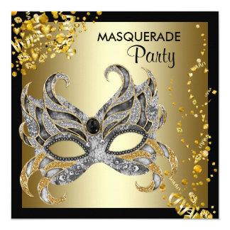 De confettien maskeren de Zwarte Gouden Partij van 13,3x13,3 Vierkante Uitnodiging Kaart