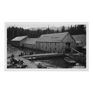 De Conservenfabriek Ketchikan, Alaska 1918 van de Poster