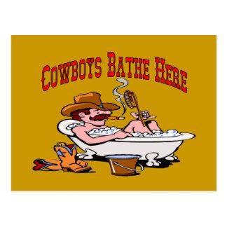De cowboys baden hier briefkaart