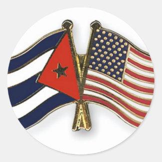 De Cubaanse Vlag en de Amerikaanse Vlag Ronde Sticker