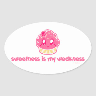 De cupcake-zoetheid is mijn Zwakheid Ovaalvormige Stickers