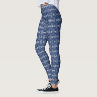 De cyclus rijdt blauw patroon leggings
