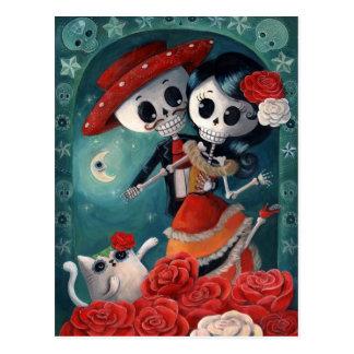 De dag van de Dode Minnaars van het Skelet Briefkaart