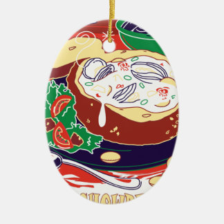 De Dag van de Vissoep van het tweekleppige Keramisch Ovaal Ornament