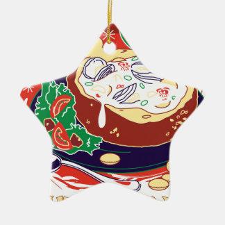 De Dag van de Vissoep van het tweekleppige Keramisch Ster Ornament