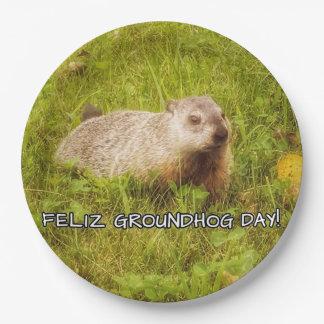 De Dag van Groundhog van Feliz! document borden Papieren Bordje