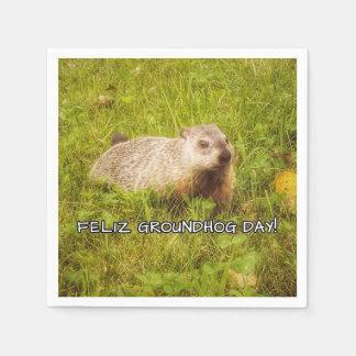 De Dag van Groundhog van Feliz! servetten Wegwerp Servetten
