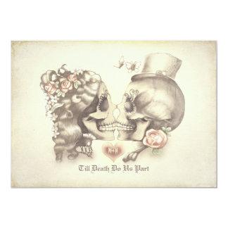 De Dag van het Paar van de schedel van de Dode 12,7x17,8 Uitnodiging Kaart