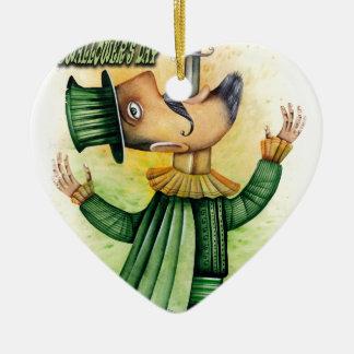 De Dag van Swallower van het Zwaard van de wereld Keramisch Hart Ornament