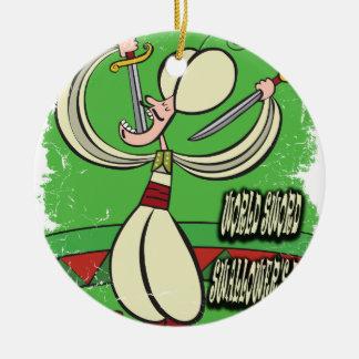 De Dag van Swallower van het Zwaard van de wereld Rond Keramisch Ornament