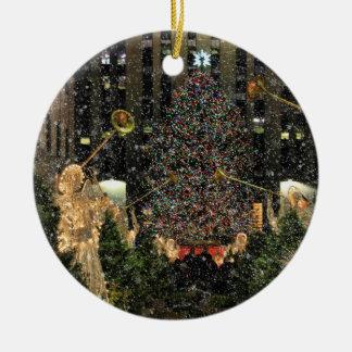 De Dalende Sneeuw van de Boom van Kerstmis van het Rond Keramisch Ornament